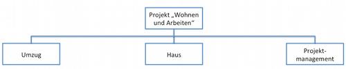 """Projektstrukturplan: Erste Ebene beschreibt Teilprojekte und beantwortet die Frage """"Um welche Bereiche müssen wir uns kümmern?"""""""